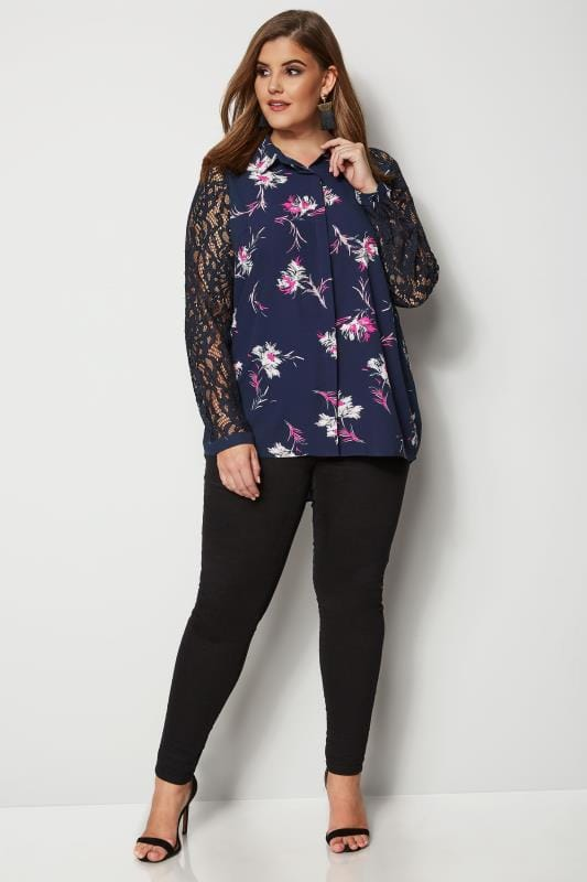 YOURS LONDON Navy Floral Lace Shirt