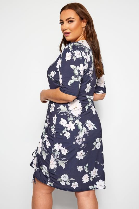 YOURS LONDON Navy Floral Ruched Wrap Dress