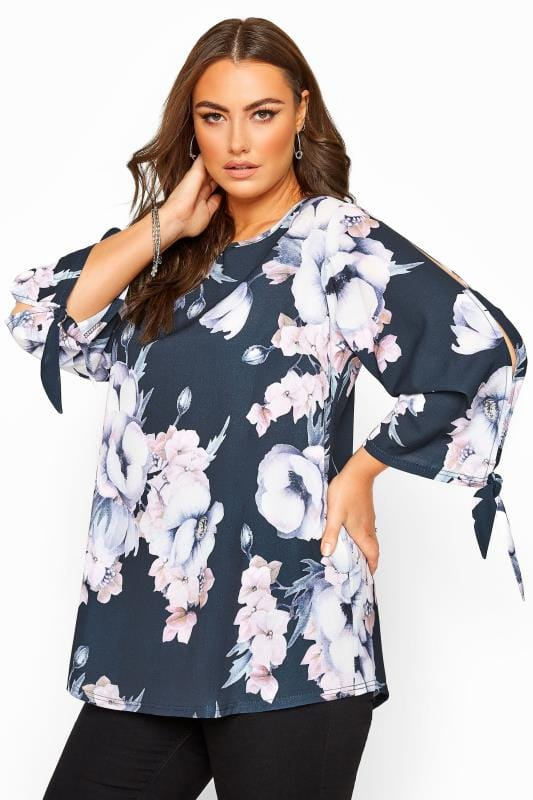 Plus Size Blouses & Shirts YOURS LONDON Navy Floral Split Sleeve Top