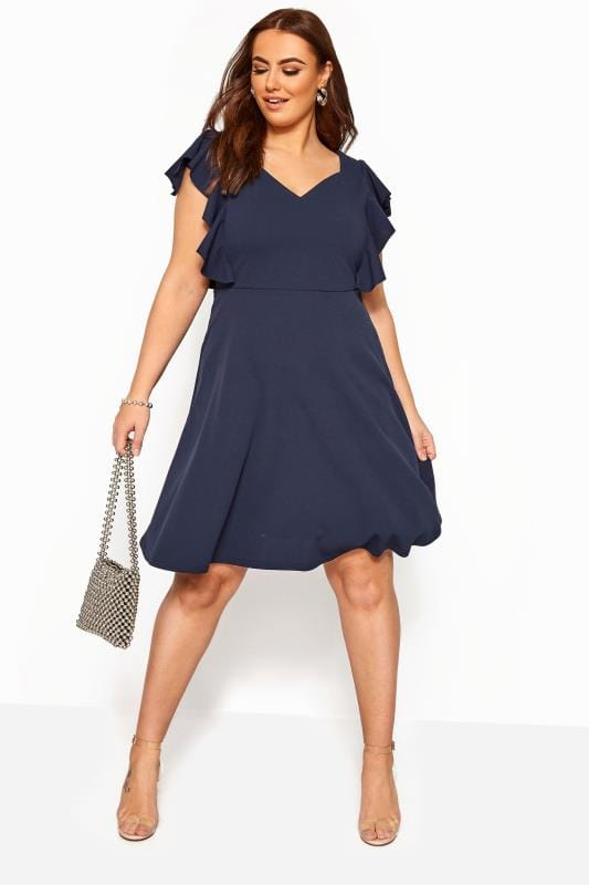 Plus Size Going Out Dresses YOURS LONDON Navy Frill Shoulder Skater Dress