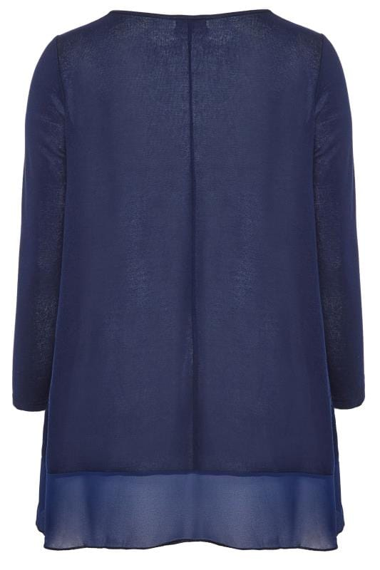 YOURS LONDON Navy Knitted & Chiffon Colour Block Top
