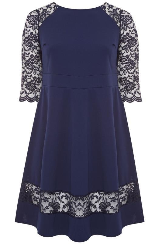 YOURS LONDON Navy Lace Skater Dress