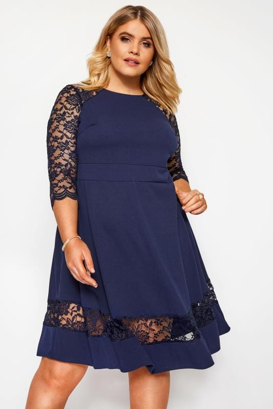 Plus Size Evening Dresses YOURS LONDON Navy Lace Skater Dress
