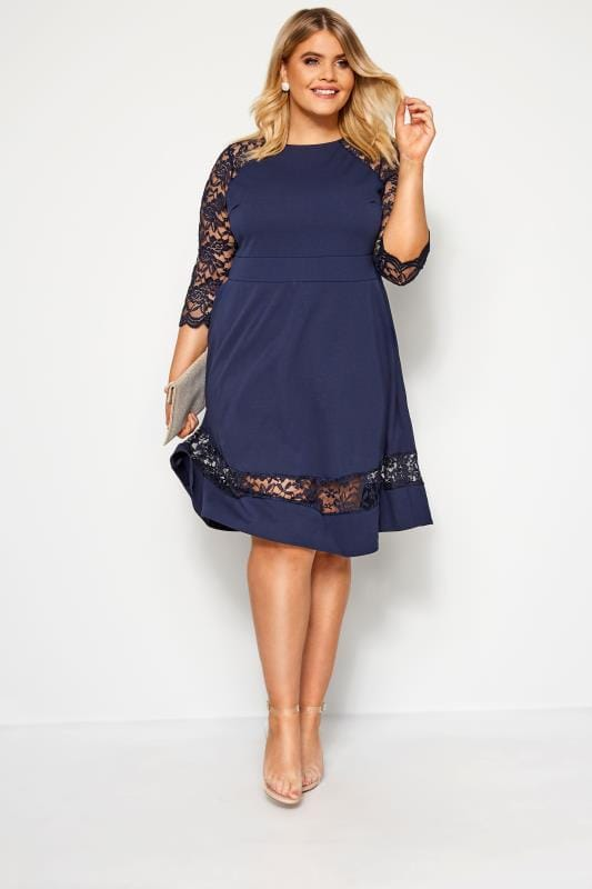 YOURS LONDON Navy Lace Skater Dress
