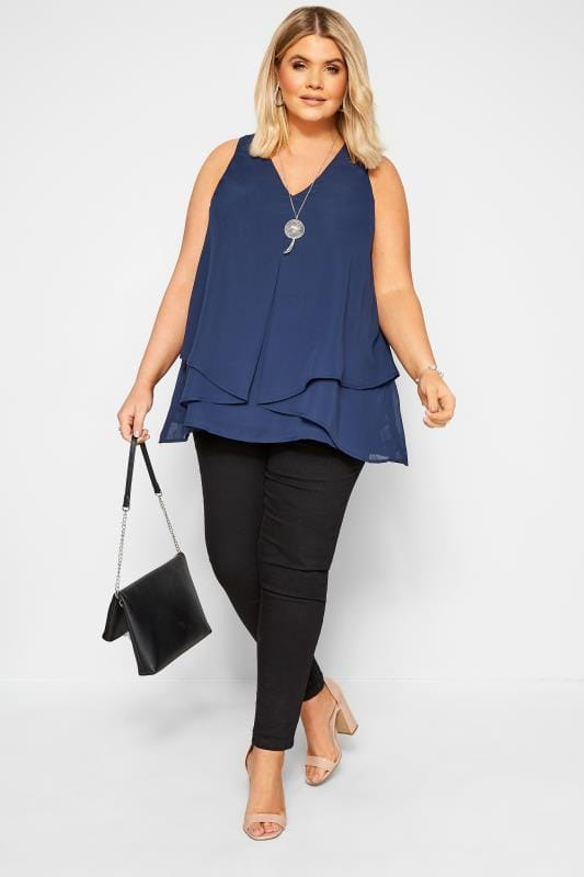 Plus Size Vests & Camis YOURS LONDON Navy Layered Chiffon Top