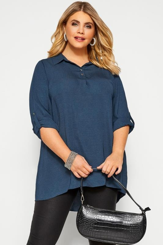 Plus Size Shirts YOURS LONDON Navy Linen Look Overhead Shirt