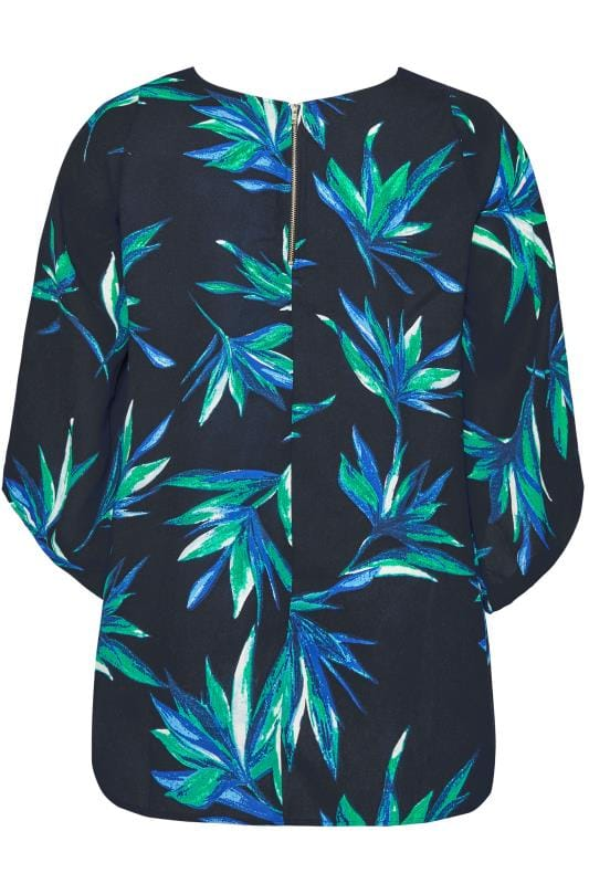 YOURS LONDON Navy Palm Leaf Cape Top