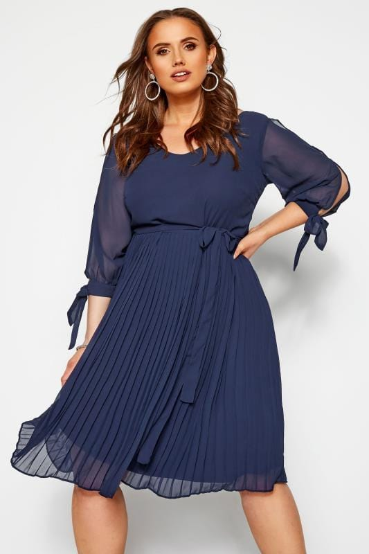 Plus Size Chiffon Dresses YOURS LONDON Navy Pleated Chiffon Dress