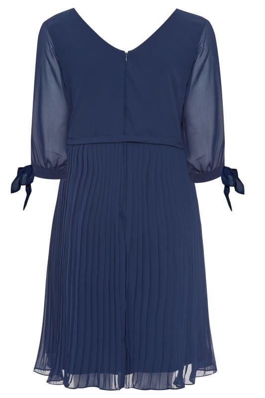YOURS LONDON Navy Pleated Chiffon Dress