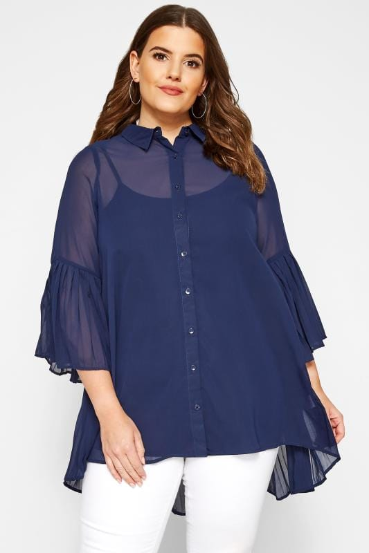 Plus Size Blouses YOURS LONDON Navy Pleated Chiffon Shirt