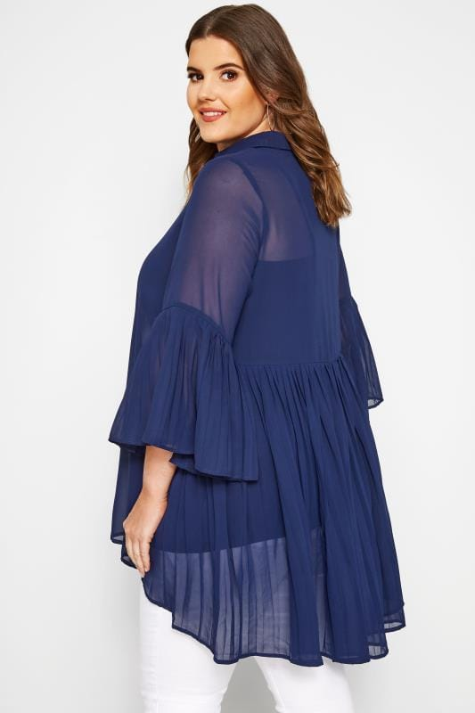 YOURS LONDON Navy Pleated Chiffon Shirt