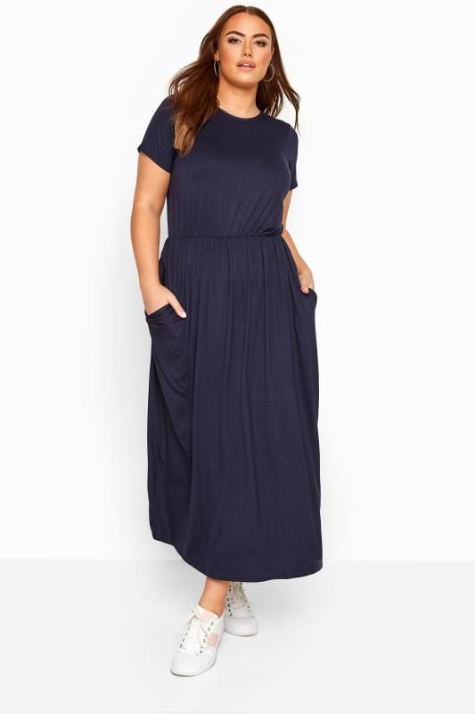 Plus Size Maxi Dresses YOURS LONDON Navy Pocket Maxi Dress