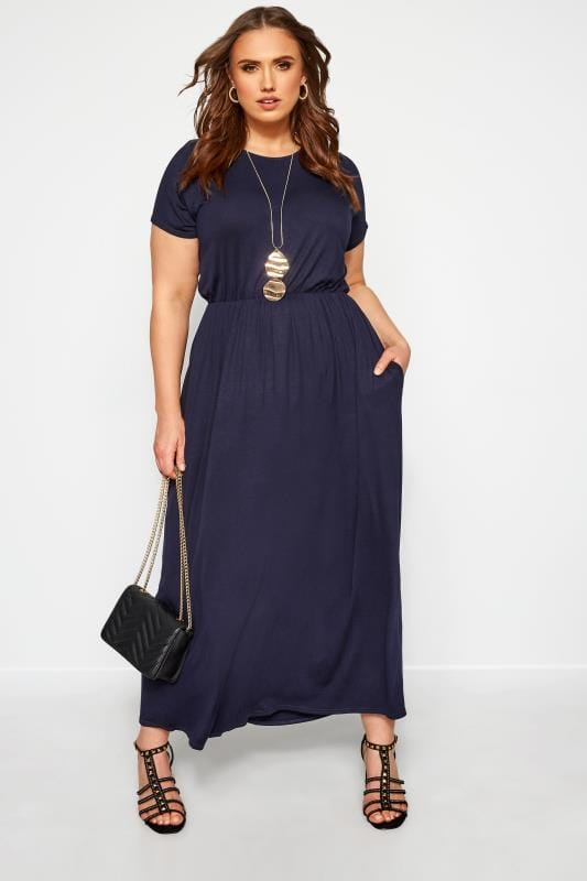 Plus Size Maxi Dresses YOURS LONDON Navy Pocket Maxi Dress