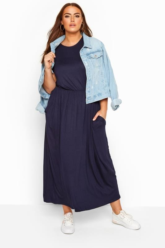 Maxi Dresses Tallas Grandes YOURS LONDON Navy Pocket Maxi Dress