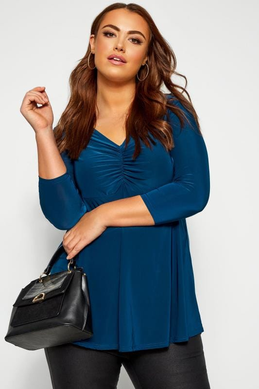 Plus Size Party Tops YOURS LONDON Navy Slinky Ruched Bust Top