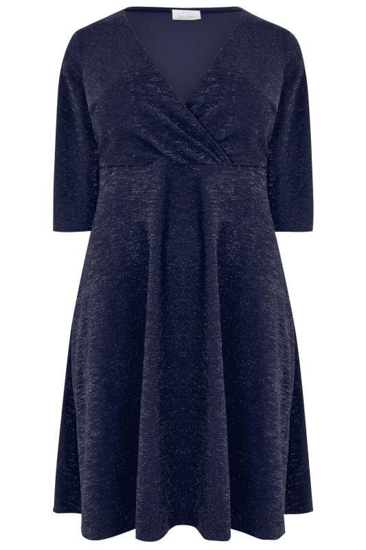 YOURS LONDON Navy Sparkle Wrap Dress