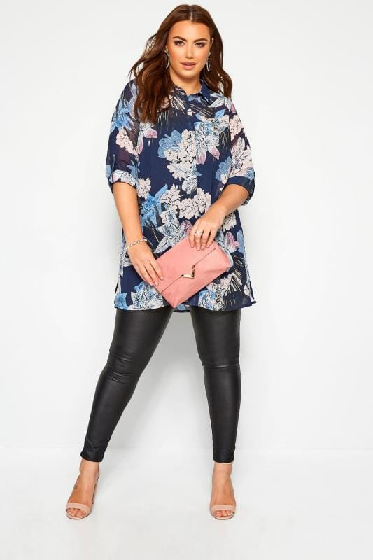 Plus Size Shirts YOURS LONDON Navy Tropical Floral Chiffon Shirt