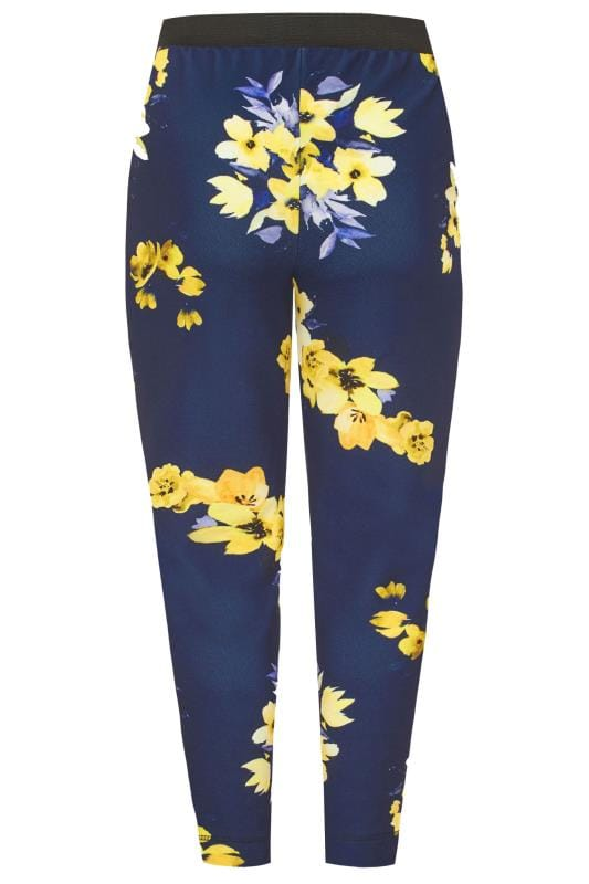 YOURS LONDON Navy & Yellow Floral Tapered Trousers