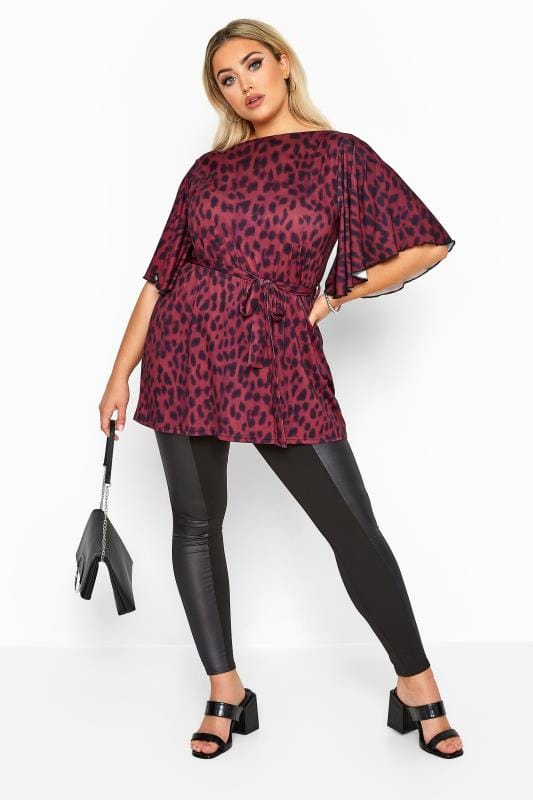 YOURS LONDON Pink Animal Print Slinky Belted Top
