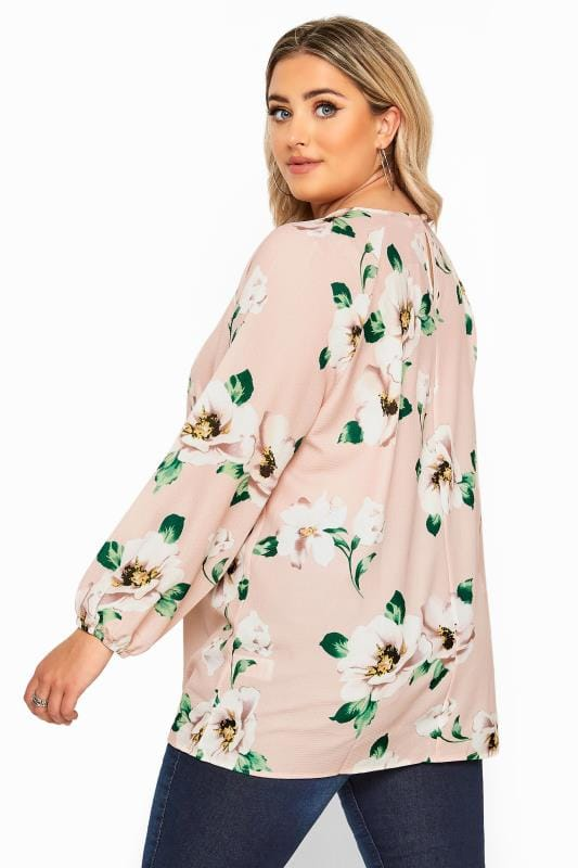 YOURS LONDON Pink Floral Balloon Sleeve Blouse