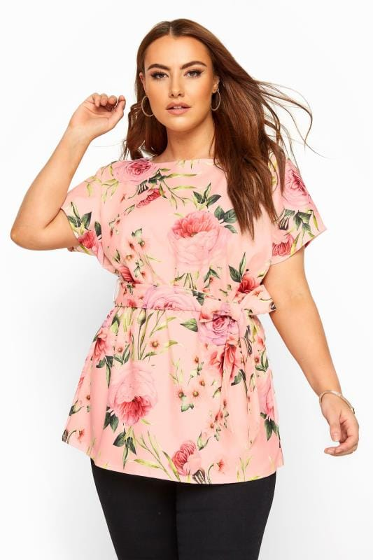 Plus Size Smart Jersey Tops YOURS LONDON Pink Floral Belted Peplum Top