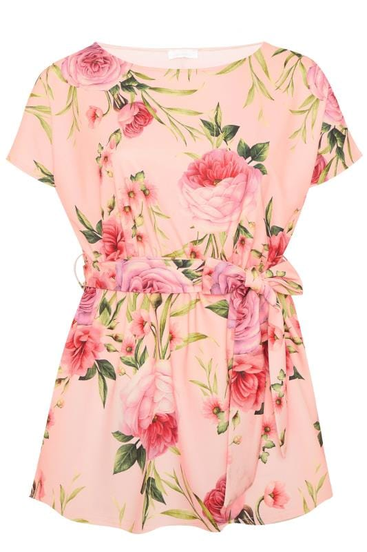 YOURS LONDON Pink Floral Belted Peplum Top