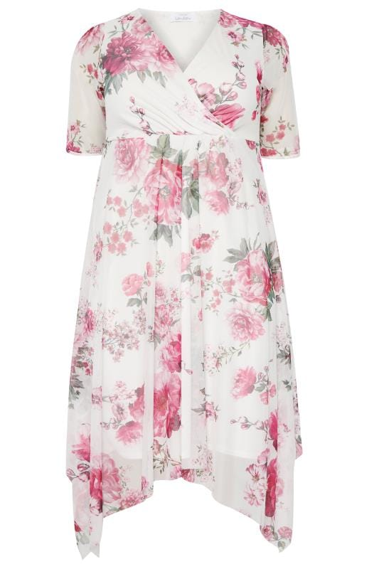 YOURS LONDON Pink Floral Mesh Midi Dress With Hanky Hem