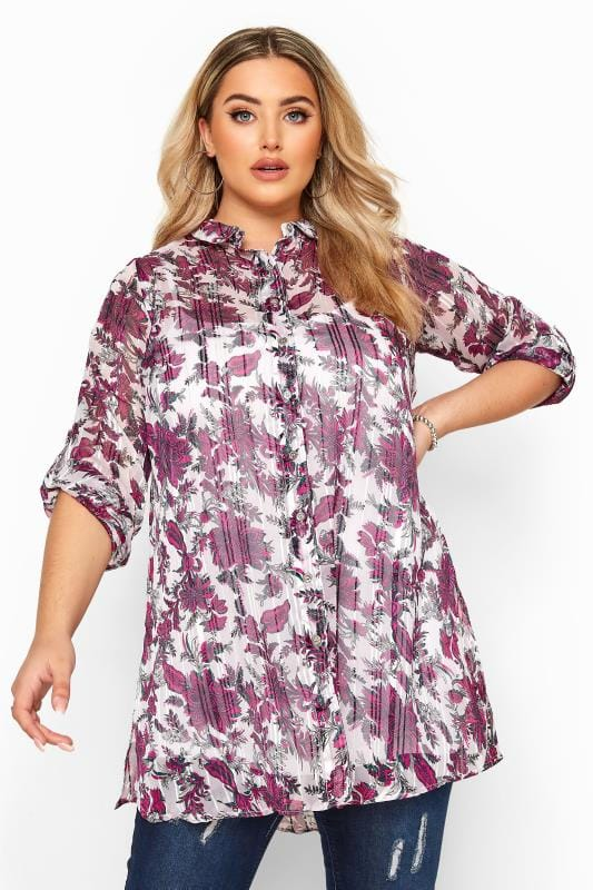 Plus Size Blouses & Shirts YOURS LONDON Pink Floral Metallic Chiffon Shirt