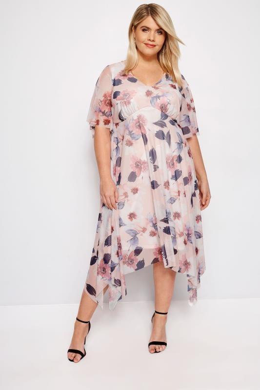 Plus Size Evening Dresses YOURS LONDON Pink Floral Midi Tea Dress