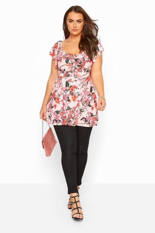 YOURS LONDON Pink Floral Print Peplum Top
