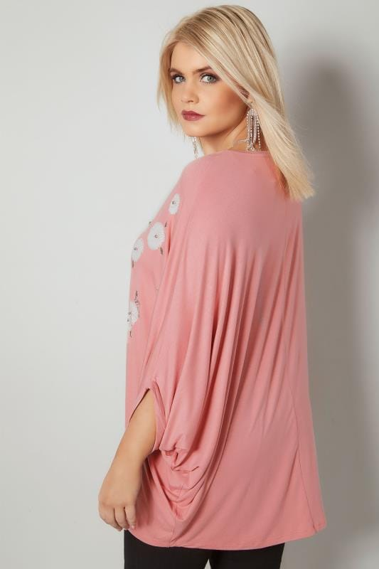 YOURS LONDON Pink Floral Embellished Cape Top