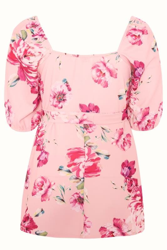 YOURS LONDON Pink Floral Square Neck Peplum Top