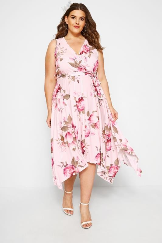 YOURS LONDON Pink Floral Wrap Dress