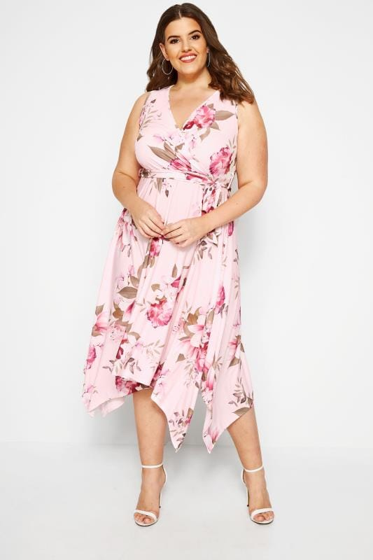 Plus Size Floral Dresses YOURS LONDON Pink Floral Wrap Dress