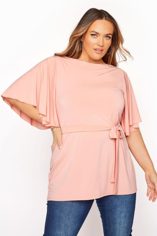 Plus Size  YOURS LONDON Pink Slinky Belted Top