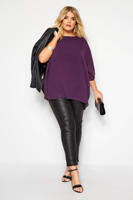 YOURS LONDON Purple Beaded Cold Shoulder Cape Top
