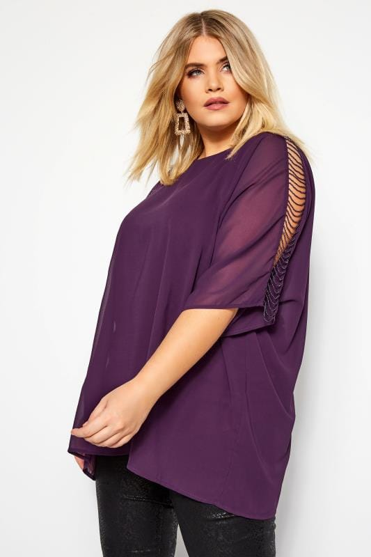 Chiffon Blouses Grande Taille YOURS LONDON Purple Beaded Cold Shoulder Cape Top