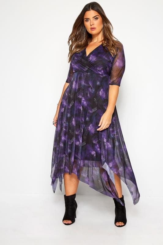Plus Size Floral Dresses YOURS LONDON Purple Brushstroke Print Wrap Mesh Dress