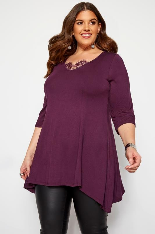 Plus Size Day Tops YOURS LONDON Purple Eyelash Lace Hanky Hem Top