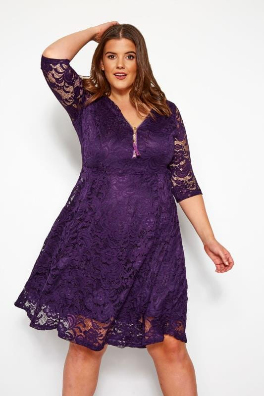 Plus Size Party Dresses YOURS LONDON Purple Lace Zip Front Dress