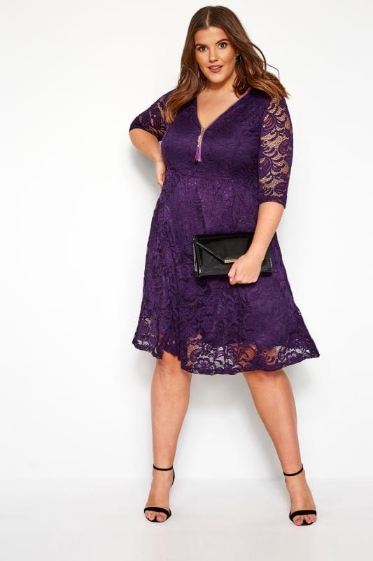 YOURS LONDON Purple Lace Zip Front Dress