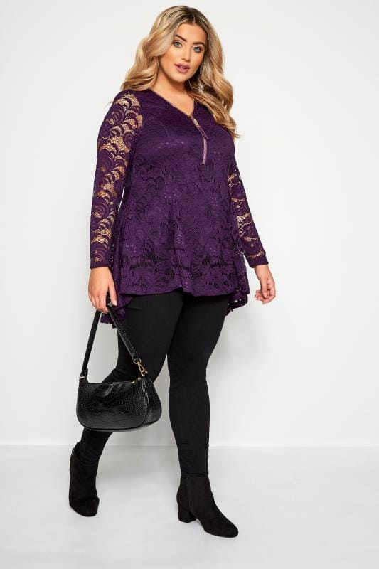 YOURS LONDON Purple Lace Zip Front Top