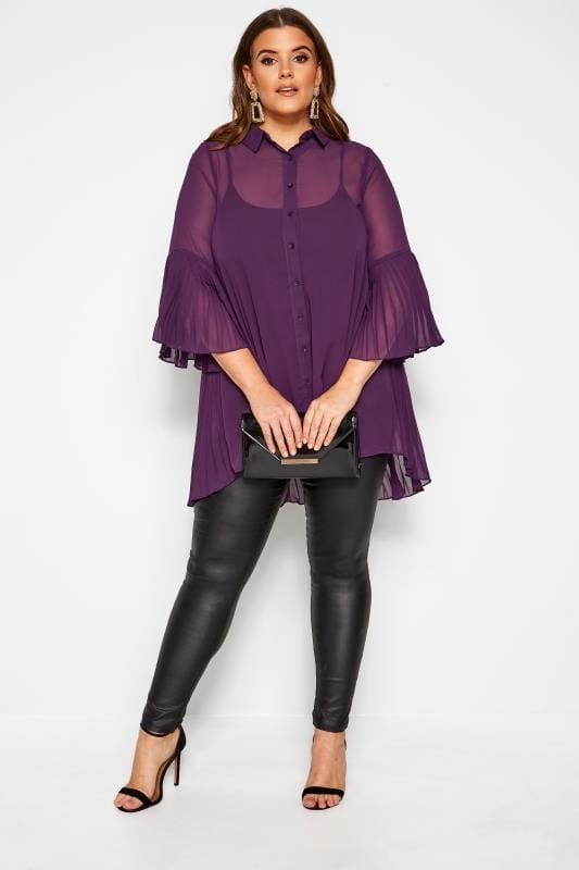 YOURS LONDON Purple Pleated Chiffon Shirt