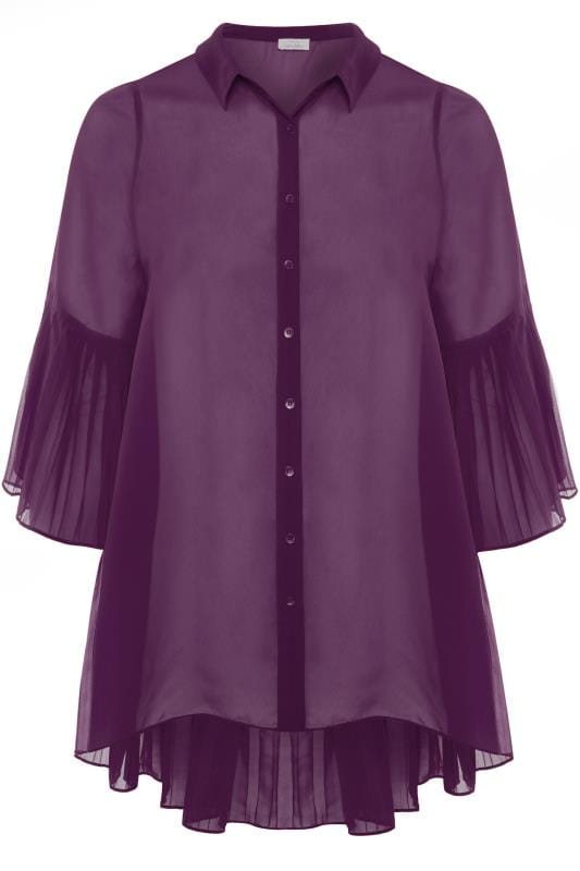 Plus Size Blouses YOURS LONDON Purple Pleated Chiffon Shirt