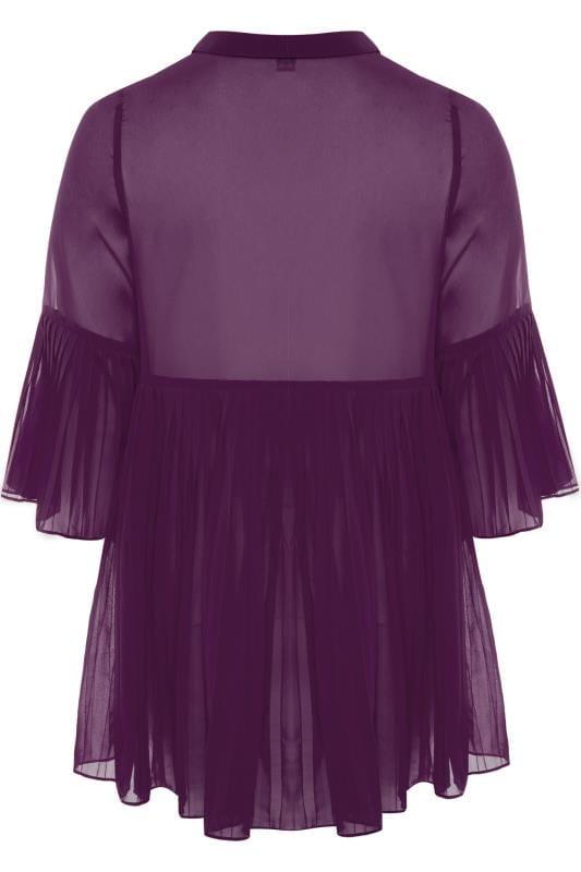 YOURS LONDON Purple Pleated Chiffon Shirt