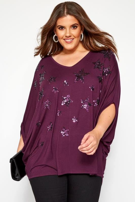 Plus Size Jersey Tops YOURS LONDON Purple Star Top With Batwing Sleeves