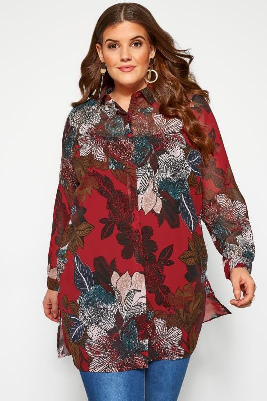 shirts YOURS LONDON - Rode blouse met lange mouwen en bloemenprint
