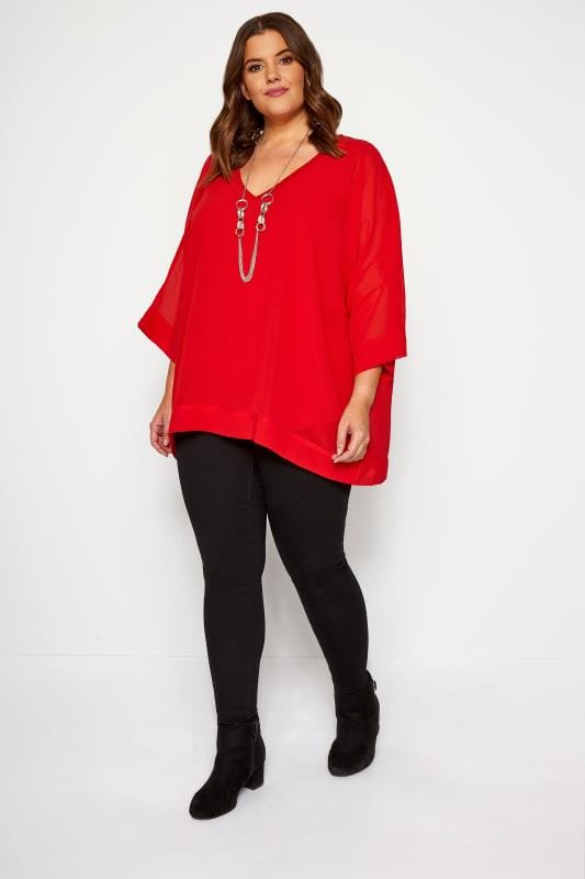 YOURS LONDON Red Chiffon Cape Top