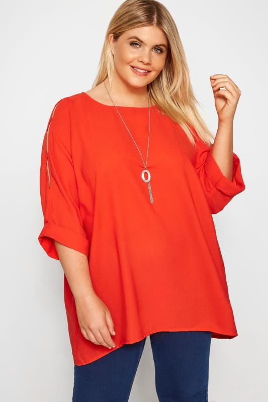 Plus Size Blouses & Shirts YOURS LONDON Red Cold Shoulder Cape Blouse