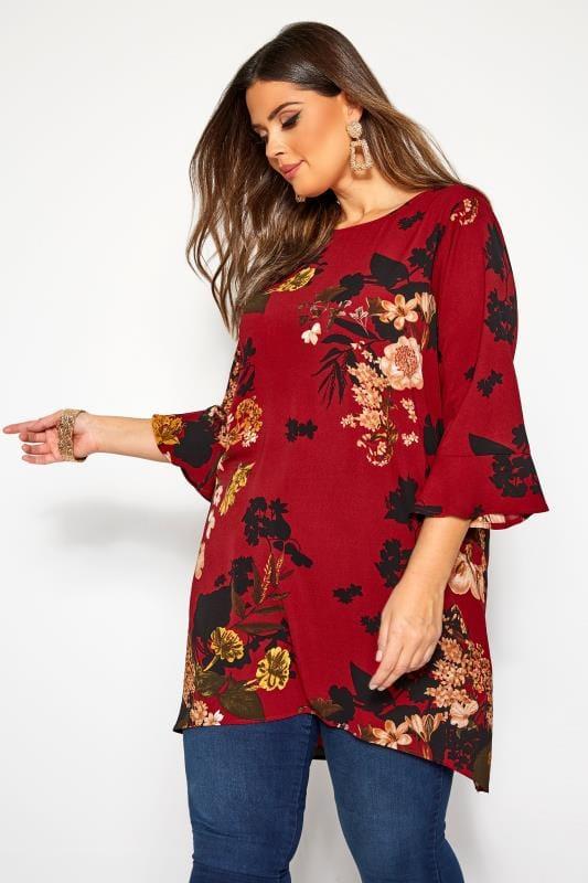 Plus Size Blouses YOURS LONDON Red Floral Print Longline Blouse
